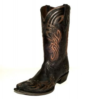 "Mens Lucchese M1707 Black Oklahoma Western Boot w/""El Santo"" Hand"