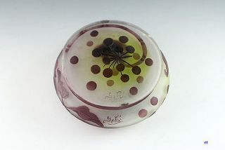 OLD GALLE CAMEO GLASS UNUSUAL DRESSER JAR