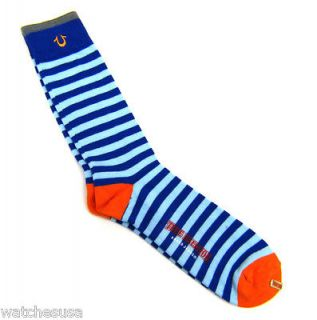 True Religion One Pair Blue/ Orange Striped Athletic Tube Mens Sock