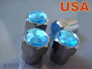 Crystal*BLUE*Chrome*Diamond Tire/Wheel stem valve CAPS