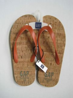 GAP Mens Orange Cork Flip Flop Sandals Sizes 10,11,12,13 NWOB
