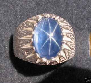 11+ CT LINDE LINDY TRANS BLUE STAR SAPPHIRE CREATED .925 SILVER RING