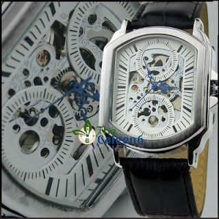 Newly listed NEW Automatic Mechanical Men Leather Hollow Fashion Wrist