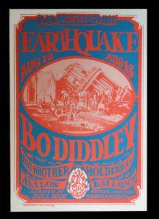 1966 Family Dog Poster FD 21   Bo Diddley & Janis Joplin   Rare 2nd