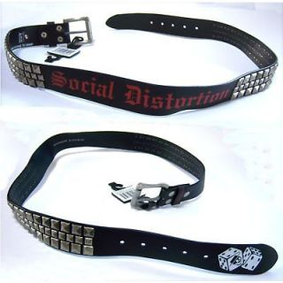 SOCIAL DISTORTION DICE LOGO STUDDED BLACK BELT LARGE NEW OFFICIAL NWT