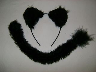 Halloween Fancy Dress Black Panther/Jaguar/Wild Cat/Dog Faux Fur Ears