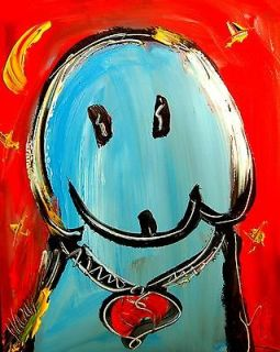 BLUE DOG LARGE ORIGINAL OIL PAINTING COMES STRETCHED REYSDFBTRB