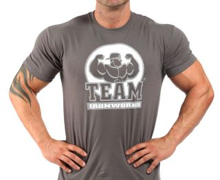 CHARCOAL BODYBUILDING T SHIRT WORKOUT GYM CLOTHING