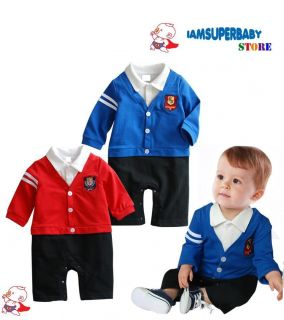 24M Baby Boy Smart Casual Wear Romper Bodysuit, School Boy