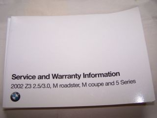2002 BMW Z3 M ROADSTER OWNERS MAINTENANCE SERVICE MANUAL