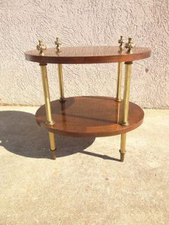 vintage petite French regency brass rosewood plant stand pedestal lamp