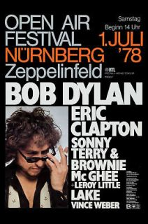 Bob Dylan & Eric Clapton in Germany Concert Poster Circa 1978
