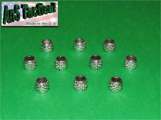 10 Antiqued Silver Metal Barrel Beads, large hole, fits paracord knife