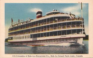 Postcard Ship S.S. Columbia Bon Lo Excursion Co Bob Lo Island Canada