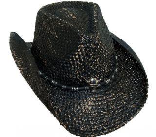 BRET MICHAELS BLACK WESTERN COWBOY HAT SKULL CONCHO ROCKIN HALLOWEEN