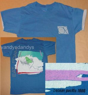 vtg 80s 1986 ocean PACIFIC op SURF beach EAT FOAM yth KID shirt M