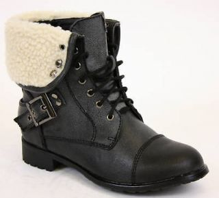 GIRLS MILITARY STYLE ARMY LACEUP FUR KIDS BOOTS SIZE