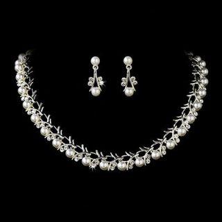 Bridal Wedding Jewelry Set Crystal Rhinestone Pearl Sophisticated