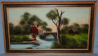 ORIGINAL FRAMED ANTIQUE REVERSE PAINTING ON GLASS GRIST MILL CA