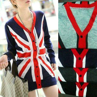 Knit Cardigan Sweater Jumper Dress Jacket Union Jack British UK Flag