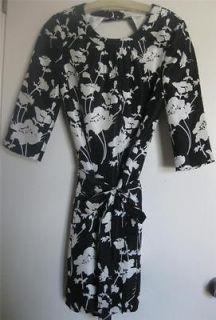 KATE SPADE floral dress black white DOROTHY 3/4 sleeve 8 silk cocktail