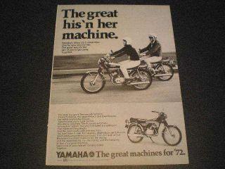 1972 Yamaha 100cc LS 2 Street Bike Motorcycle Ad