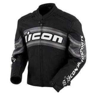 ICON Daytona Leather Motorcycle Jacket Black   NEW