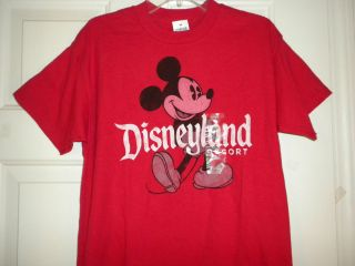 Adult Mens M Disneyland Mickey Mouse Tee T shirt Red Authentic Disney