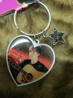 new Justin Bieber heart shaped photo key chain Pop star teen idol pop