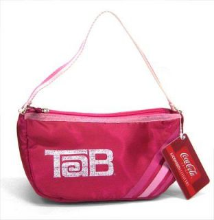 TAB SODA POP / COCA COLA   RETRO PINK LOGO STRIPES HANDBAG PURSE   NEW