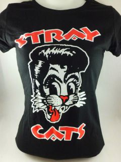 BLK STRAY CATS PUNK ROCKABILLY PSYCHOBILLY SKA EMO T SHIRT