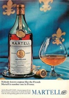 1964 Martell French Cognac   Bottle, Vintage Ad