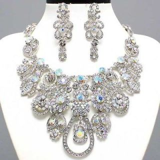 CHUNKY GOLD CLEAR CRYSTAL bridal Evening BIB STATEMENT NECKLACE SET