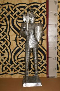 Foot SILVER Suit of Armor Knight   Halberd Pike & Shield