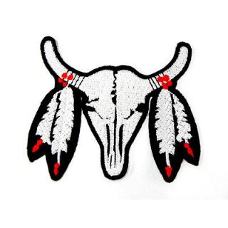 I0163 Indian American Fur Buffalo 3 Sew or Iron On Patch Embroidered