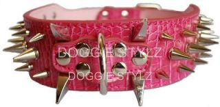 Pink Leather Dog Collar Spikes Amstaff Bully Boxer Cane Corso Husky S