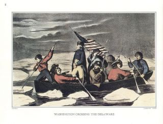 CURRIER & IVES print WASHINGTON CROSSING THE DELAWARE