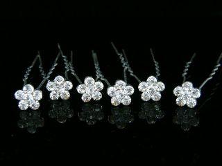 Pcs Bridal Wedding Prom Crystal Rhinestone Flower Hair Pins 5103