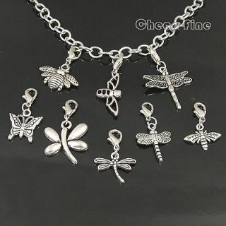 30pcs Tibetan Silver Mix Bees Butterfly Dragonfly Lobster clasp Charms