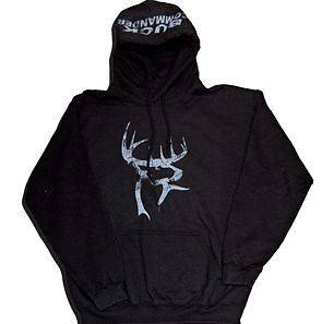 NEW BUCK COMMANDER SWEATSHIRT BLACK HOODIE WITH WEATHERED WHITE LOGO
