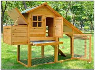 wood poultry cage nest box rabbit hutch run chicken coop hen house