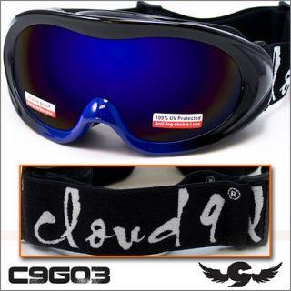 Goggles New ANTI FOG LENS Motorcycle BLUE Ski Jump Mobile Bike C9G03