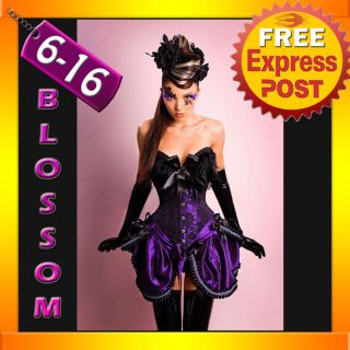 CC1 Ladies Purple BURLESQUE COSTUME Corset Dress Up MOULIN ROUGE