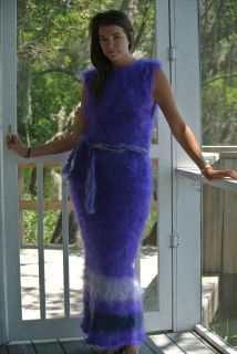 Handmade Mohair, Purple, Long Sweater Dress, Fuzzy & Brushed, M,L