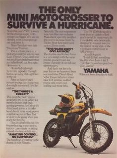 1979 Yellow Yamaha Mini Moto Crosser Motorcycle Magazine Ad. 2 pages