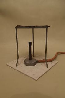 BUNSEN BURNER, TRIPOD, HEAT PROOF MAT, WIRE GAUZE; VINTAGE