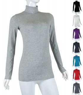 Solid STRETCH Plain Basic Long Sleeve COTTON Turtle Neck T shirt Top