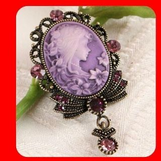 St Purple Fashion Women Jewelry CAMEO Brooch & Pendant for necklace