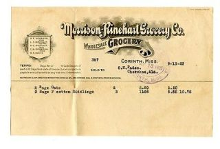 1923 Morrison Rinehart Grocery Co Receipt Corinth Mississippi
