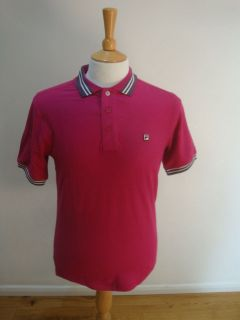FILA RETRO VINTAGE MATCH POLO SHIRT rasperry